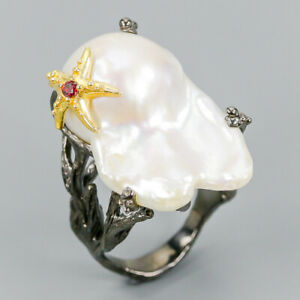 Vintage-SET-Natural-Baroque-Pearl-925-Sterling-Silver-Ring-Size-8-5-R112476