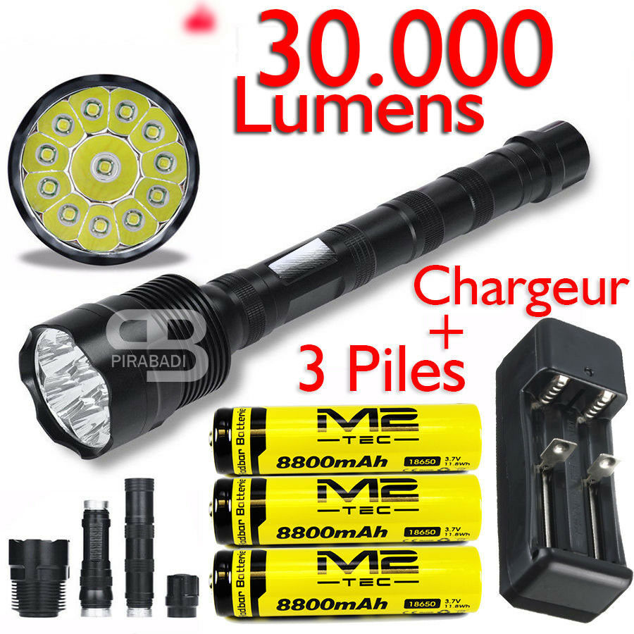 SWAT POLICE LAMPE TORCHE 30000 LUSieS 12 LED FLASHLGHT 3 PILES CHARGUR