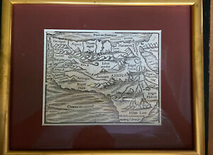 1588-Sebastian-Munster-Africa-Framed-Wood-Block-Engraved-Map-Munster