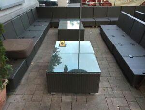 Lounge Sessel Tisch Gastro Outdoor Rattan Mit Kissen Sunbrella