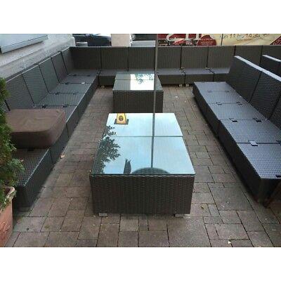 Lounge Sessel +Tisch GASTRO OUTDOOR Rattan mit Kissen Sunbrella Braun ~ Garten