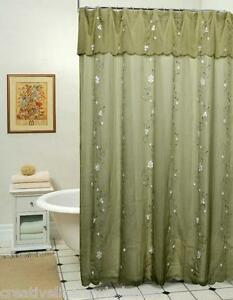 Image Is Loading Daisy Fabric Shower Curtain Sage Green New Creative