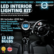 BMW MINI R57 CONVERTIBLE LED INTERIOR COMPLETE FULL KIT SET BULB XENON WHITE JCW