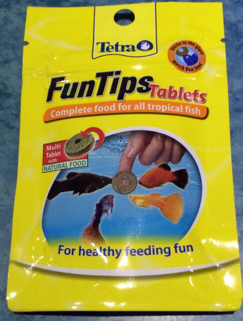 Tetra FunTips 20 Tablets Stick On Glass Fish Treat Complete Wafer Food Aquarium