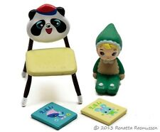 Megahouse Mega Mini Miniature Baby Set #8 Panda Chair Books and Doll Re-ment