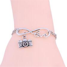 Silver Plated Women Love Cute Camera Infinity Pendant Bracelet Chain Charm Cuff