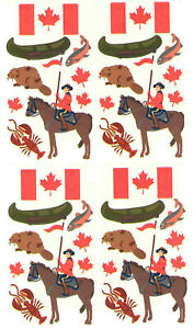 Canada-Travel-Stickers-Flag-RCMP-Maple-Leaf-Beaver-Fish-Canoe-Lobster