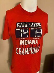 RARE-VINTAGE-Indiana-Hoosiers-1987-Champions-Shirt-LARGE-Syracuse-IU-Logo-7-NCAA