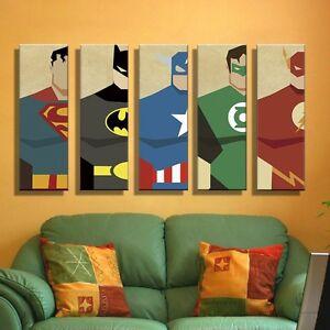 Perfect Image Is Loading Unframed Superhero Superman Batman Canvas Wall Art Picture