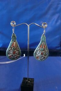 Nepalese Turquoise and coral earings silver plated brass