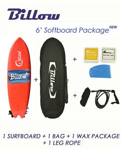 Billow-6-039-Fish-Soft-Surfboard-Package-Deal-Softboard-Bag-Wax-Fins