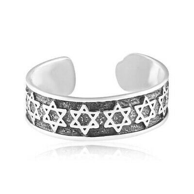 Star of David Jewish Symbol Toe Ring Genuine Sterling Silver 925 Jewelry Gift