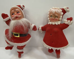 Vintage-Flocked-Blow-Mold-Christmas-Santa-amp-Mrs-Claus-Dancing-Picks-1960s-As-Is