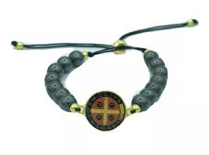 Black Beads St Benedict Bracelet, Catholic Saint Medal Adjustable San Benito Cru