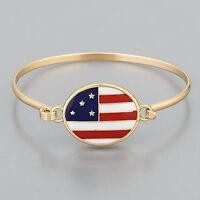 Gold Finish American Flag Simple Vintage Stylish Bangle Bracelet