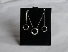 9 Carat White Gold Circle Drop Pendant and Earrings Set with 7 point of Diamonds