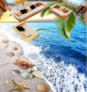 3D gaviotas Playa Papel Pintado Mural Parojo Impresión De Piso 505 5D AJ Wallpaper Reino Unido Limón