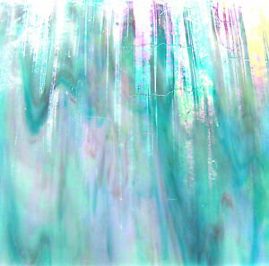CARIBBEAN-AQUA-BLUE-Metallic-Iridescent-Stained-Glass-SHEET-or-Mosaic-Tiles-WOW