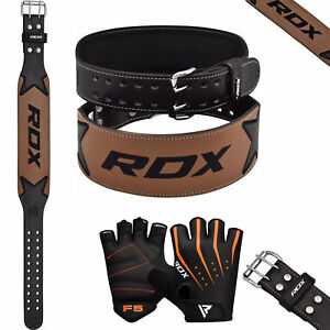 RDX-Leather-Weight-Lifting-Belt-amp-Gloves-Training-Gym-Powerlifting-Back-Support