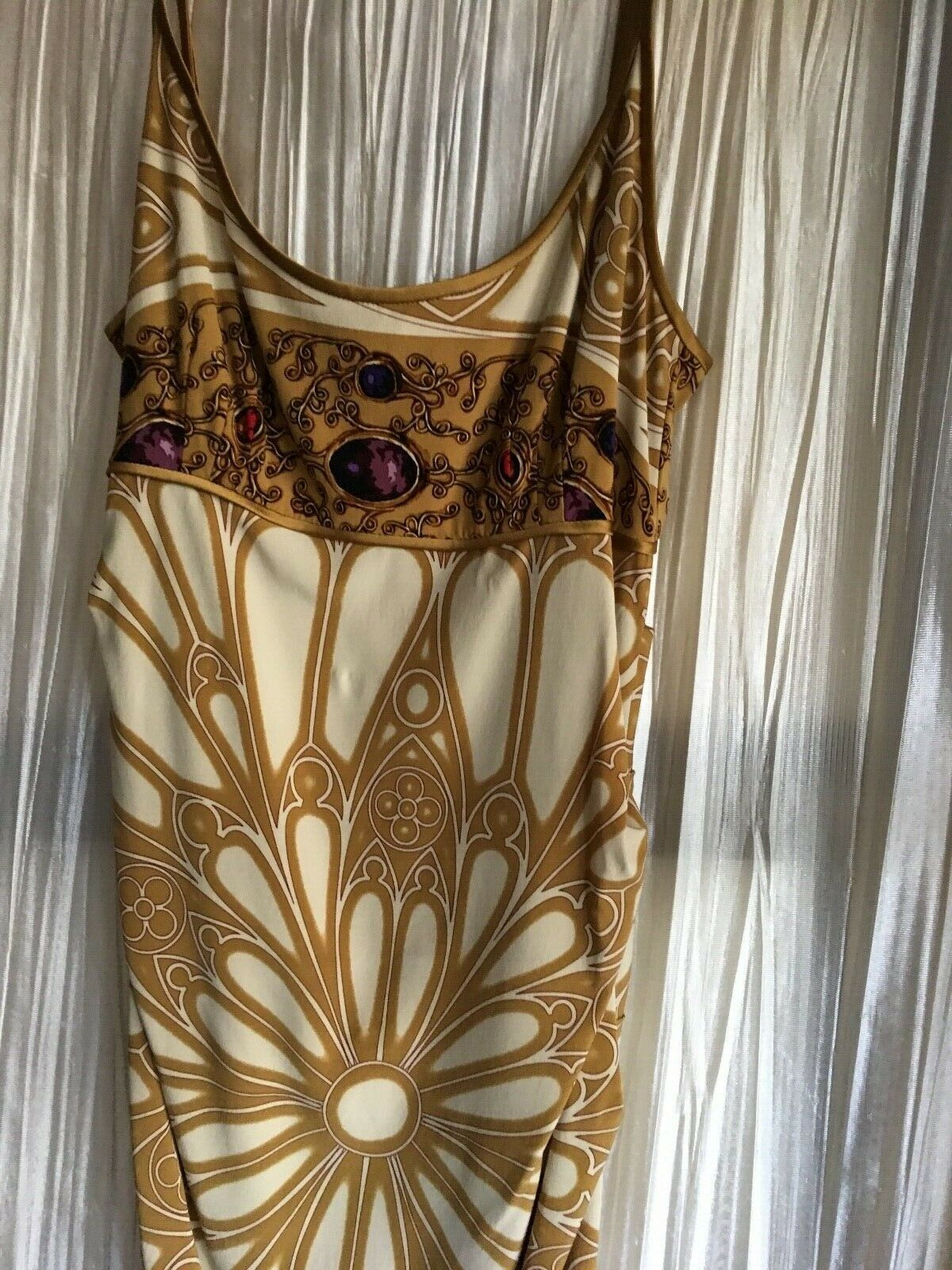 Nicole Miller size size size 2 silk spandex dress w straps golden print very Euro design 067001
