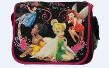 Brand New Disney Tinker Bell Girls Large Messenger Book Bag with Water holder