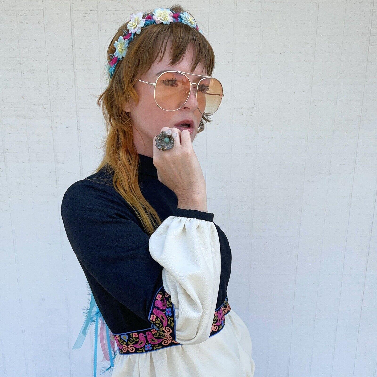 Vintage Fairycore Maxi Dress Hippie Clothes Puffy… - image 6