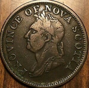 1832-NOVA-SCOTIA-ONE-PENNY-TOKEN-Breton-870-Rare-imitation-penny
