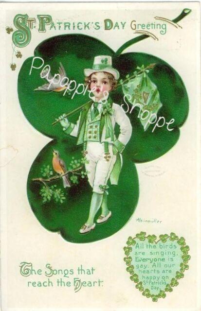 St Patrick's Day Fabric Block Vintage Postcard on Fabric Irish Greeting