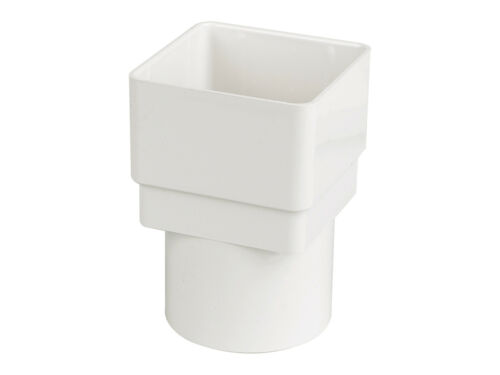 FLOPLAST RDS2WH 65MM SQUARE TO 68MM ROUND DOWNPIPE CONNECTOR WHITE