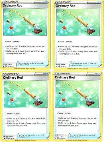 Ordinary Rod 171//202 Pokemon 4 Card Lot Sword /& Shield Trainer Playset