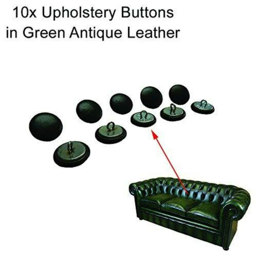 10x 20mm Green Leather Chesterfield Buttons with Wire Backs 10 pcs