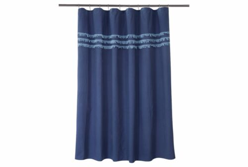 Threshold Cotton Linen Blend Blue Shower Curtain Eyelash Fringe 72 in X 72 in.