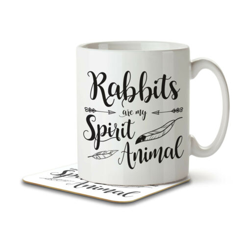 Mug and Coaster by Inky Penguin Rabbits are my Spirit Animal