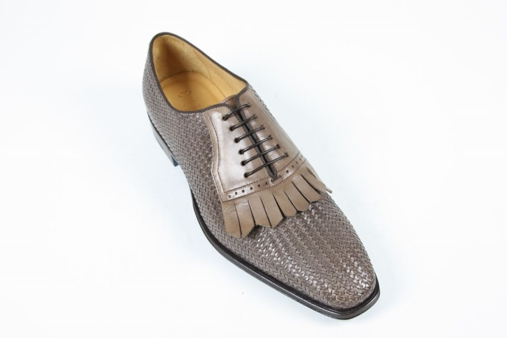 Sutor Mantellassi shoes  10.5 UK   11.5 US Taupe brown basket weave kilted oxfor