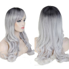 Women Thick Long Full Wig Synthetic Hair Wigs Ombre Dip Dyeing Curly Wavy Party