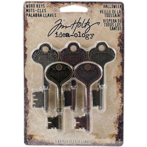 scrapbooking embellishments TH93600 HALLOWEEN Tim Holtz Idea-ology Word Keys