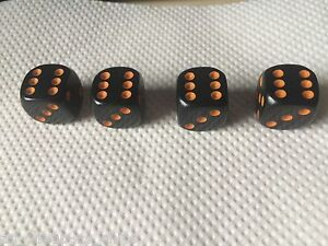 4-Black-with-Orange-Pips-Spots-Dice-Dust-Valve-Caps-Retro-80s-Hotrod-VW