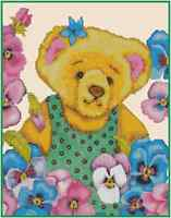 Counted Cross Stitch Teddy Bear With Pansies - Complete Kit- 28-101 Kit