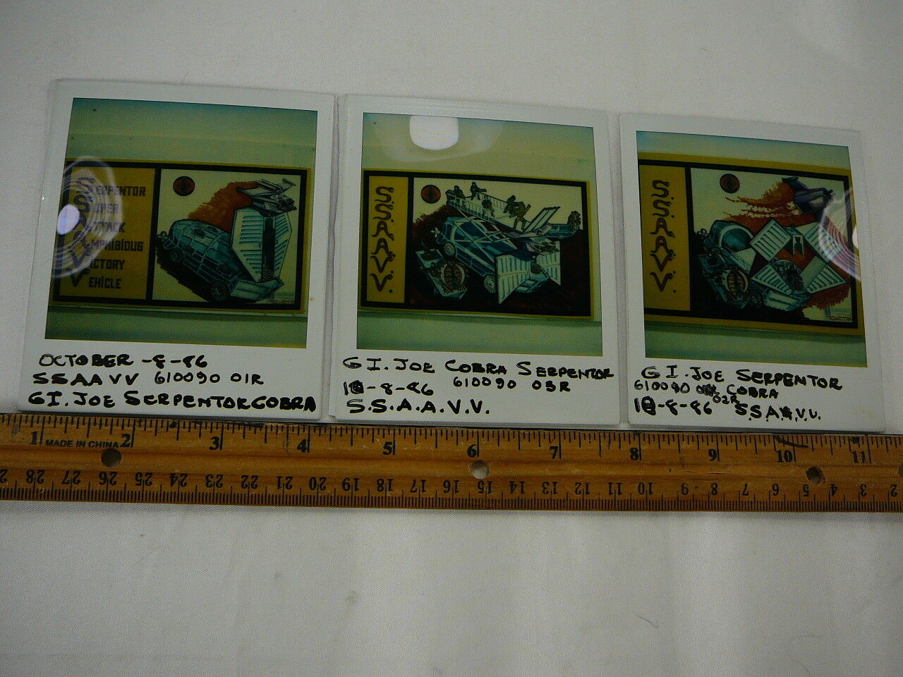 GI Joe prougeotype inédits SERPENTOR Polaroid Set Vintage RARE 1986 Sample