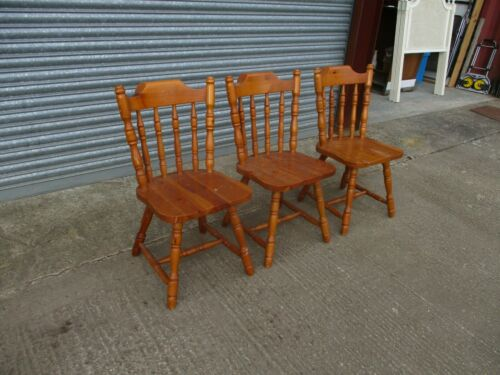 A Set of 3 Three Spindle Back Pine Dining Chairs Light Stained Wood Kitchen 20th