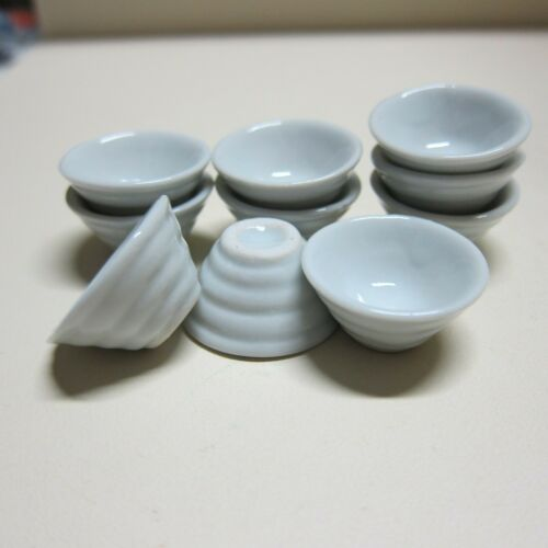 10 White Japanese Ramen Bowl Dollhouse Miniatures Kitchenware Food Supply Deco M