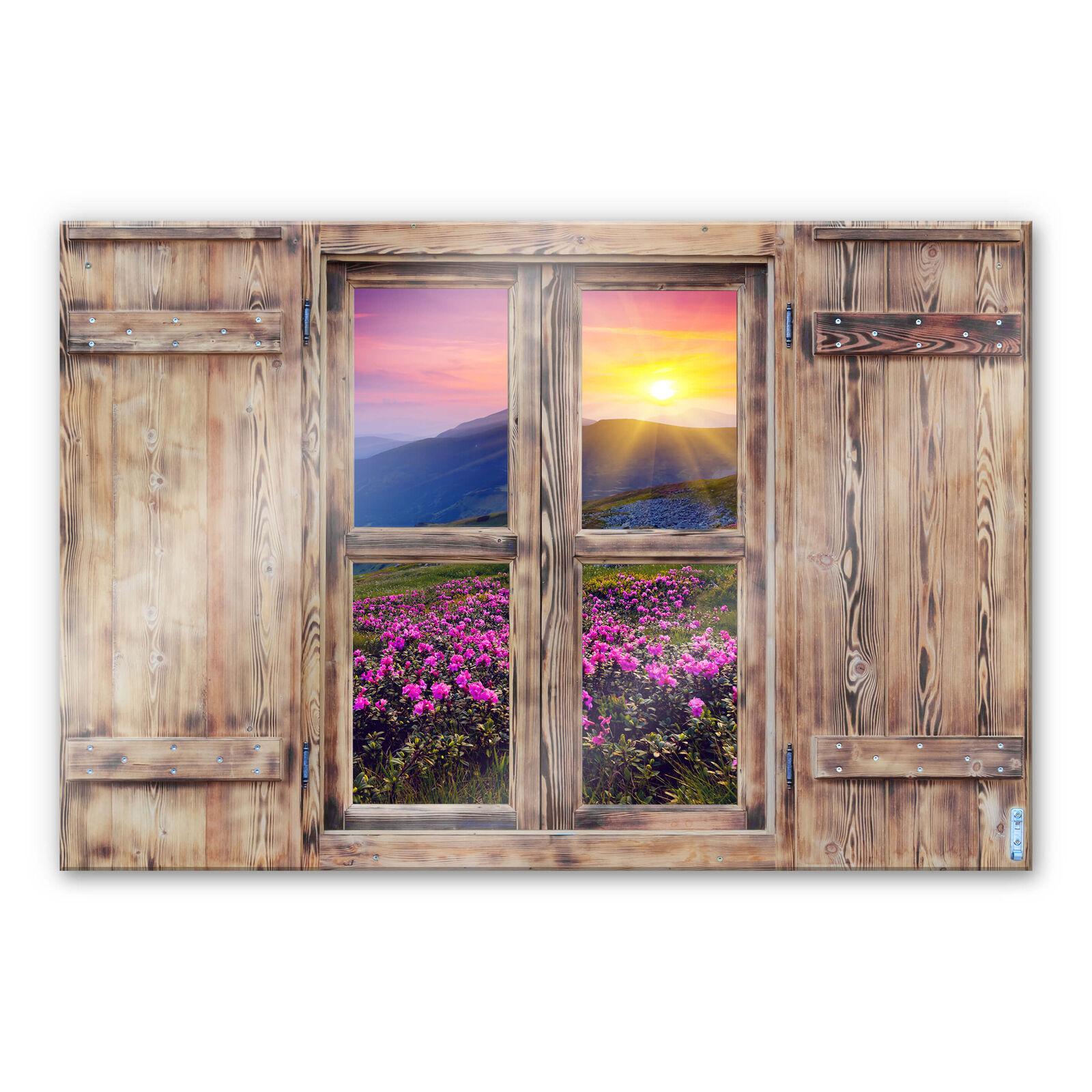 Glasbild 3D Holzfenster - Sonnenuntergang in den Bergen verblüffend echt DEKO