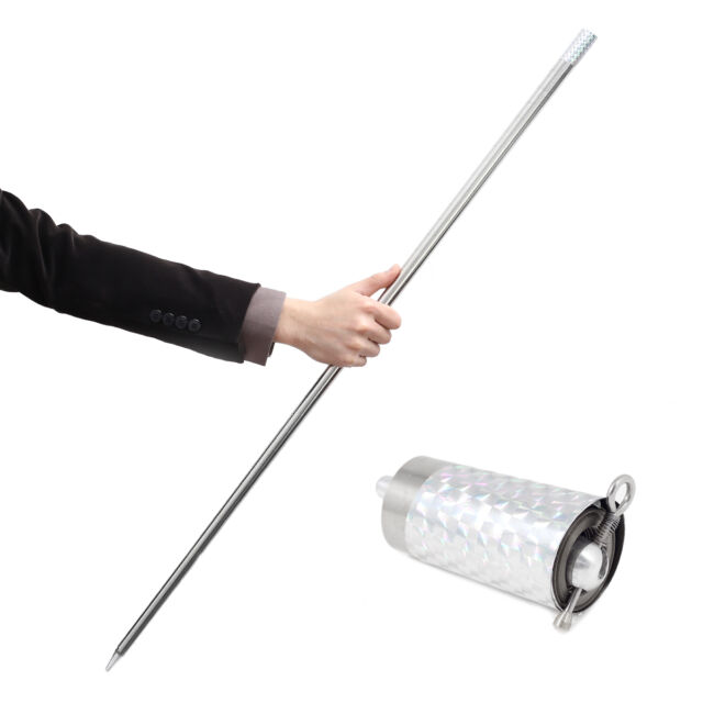 Silver Metal Appearing Cane Wand Stick Stage Magic Trick Gimmick Stainless Steel