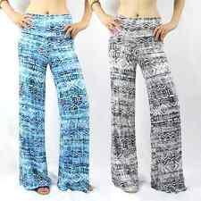 8111d53cf966b Faded aztec tie dye foldover waist yoga palazzo wide leg pants blue grey S  M L