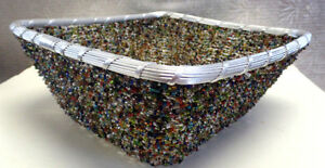 BEAD AND WIRE BASKET-MADE BY HAND
