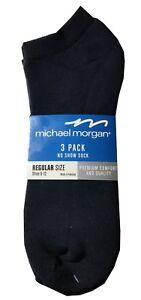 Michael-Morgan-Men-039-s-NO-SHOW-SOCKS-3-Pack-034-Pure-Cotton-Premium-Comfort-034-NEW