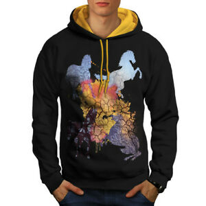 New Black Hood Men Contrast Cool gold Animal Horse Fashion Hoodie nY0ztxw