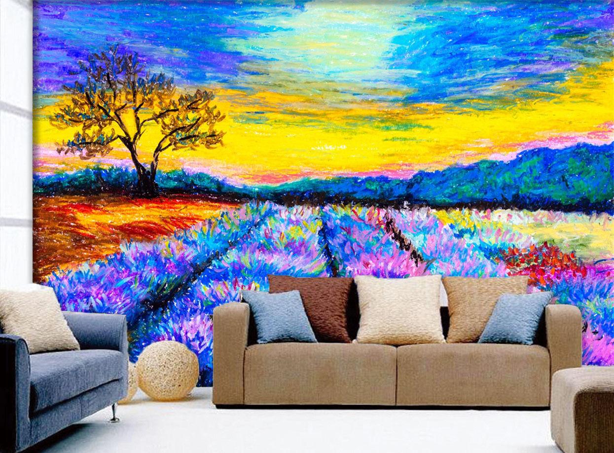 3D Farbee Campi Parete Murale Foto Carta da parati immagine sfondo muro stampa