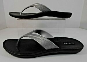 6ddc666c910f Okabashi MARINA Womens Thong Flip Flops Size L 9.5-10.5 Rubber Black ...