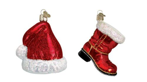 Old World Red Santa/'s Hat and Santa Claus Boot Glass Christmas Ornament Set